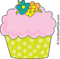 Cupcake - A cupcake with a fluted, lime green, polka dot...