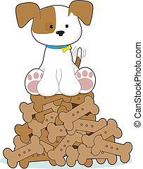 Cute Puppy and Bones - A cute puppy with a blue collar and...