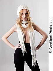 sexy blond woman portrait in panty hose and scarf - sexy...