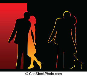 Romantic silhouettes - Bright kissing pair silhouettes over...