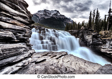 Athabasca Waterfall Alberta Canada river flow and blurred...
