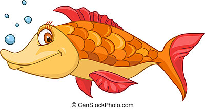 Cartoon Character Fish Isolated on White Background. Vector.