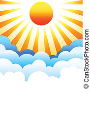 Sun rising above clouds - Bright sun rising above stylized...