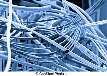 cables connected to servers in a datacenter