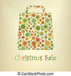 Bag For Shopping With snowflakes. EPS 8 vector file included