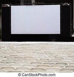 grande, Al aire libre, pantalla, sillas
