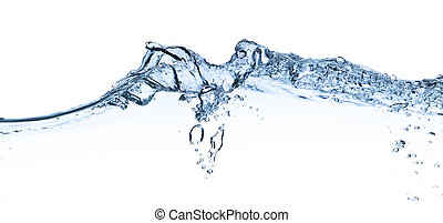water splashing - splashing water with bubbles shot on white...