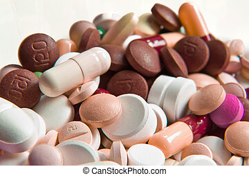 various pills - background made of colorful pills