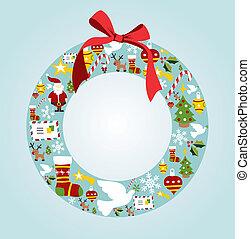 Season icon set in Christmas wreath