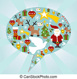Christmas icon set in speech bubble shape