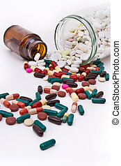 tablets and capsules - colorful tablets and capsules in...