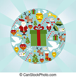 Christmas icon set in circle shape