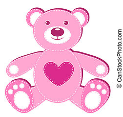 Pink applique bear Isolated on white Vector illustration