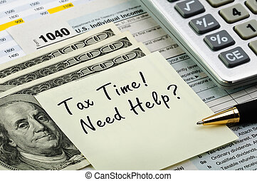 Tax forms with pen, calculator and money. - Tax forms 1040...