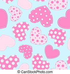 Seamless pattern with applique hearts.