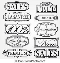 Set of ornate vector frames and ornaments
