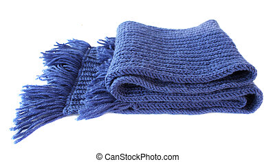 Knitted scarf - Knitted hands a scarf of dark blue colour on...