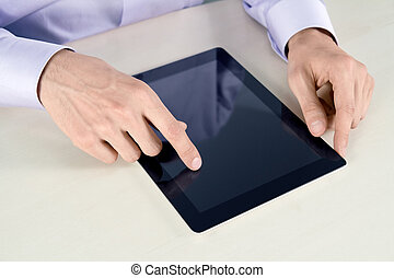 Businessman Touching On Tablet PC - Businessman hands are...