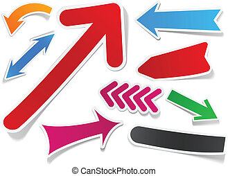 Color arrows sticker set. - Sticky collection of paper...