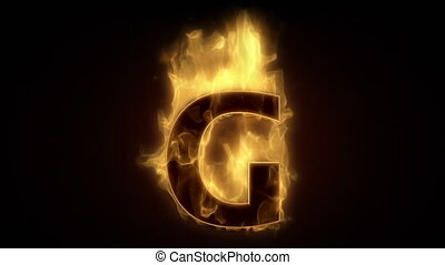 Fiery letter G  burning in loop with particles