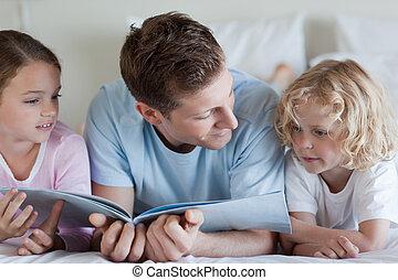 padre, lectura, el suyo, niños