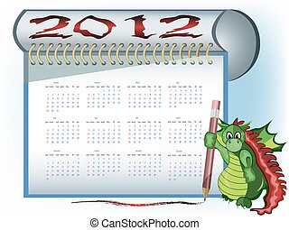 A dragon with 2012 calendar