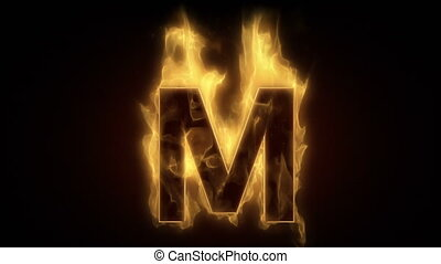 Fiery letter M  burning in loop wit