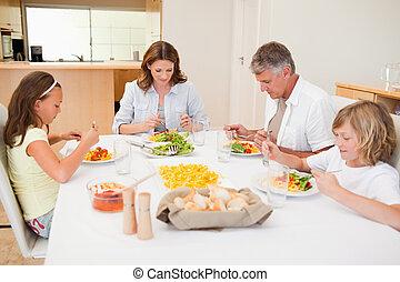 Family started having dinner