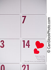 Valentines Day - 14th February on a calendar with hearts and...