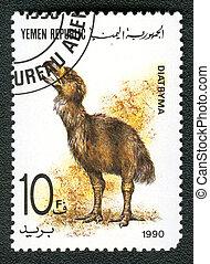 yemen, república, -, hacia, 1990:, Un, estampilla,...