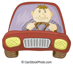 Car and driver - Cartoon, car with a man driver, isolated on...