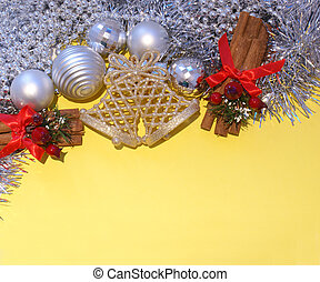Christmas decorations on a bright yellow background