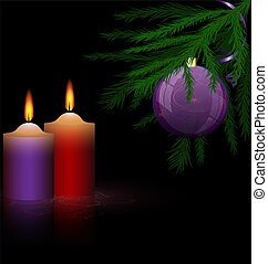Christmas tree and candles - on a dark background are two...
