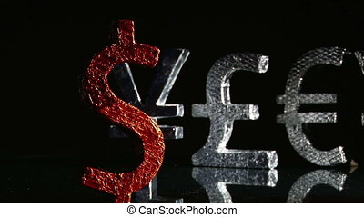 Currency symbols, dollar red front, dolly rotate