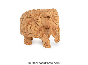 Souvenir From India - Wooden miniature elephant on white...