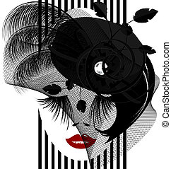 black dame - on a white background is outlines woman's face...