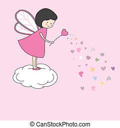 Love Card. Fairy with a magic wand giving hearts