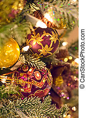 CHRISTMAS TREE BACKGROUND - Background of decorated...