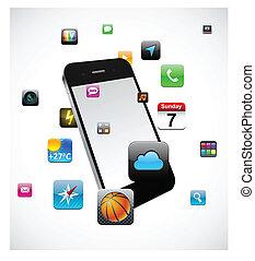 Touchscreen, smartphone, concepto