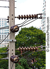 Electricity post in the city