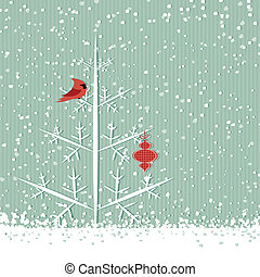Red cardinal and tree - Winter background with red cardinal,...