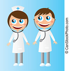 doctors cartoons - woman and men doctors cartoons with...