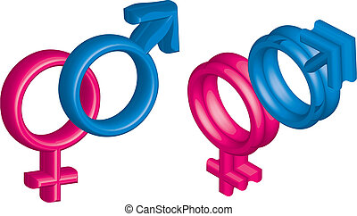 3d woman and man sign