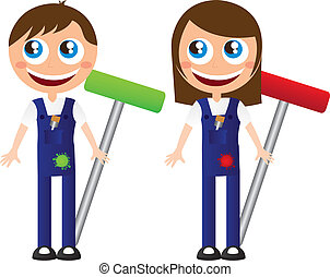 wall painters - man and woman wall painters cartoons vector...