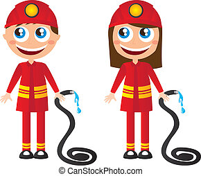 firefighters cartoons - man and woman firefighters cartoons...