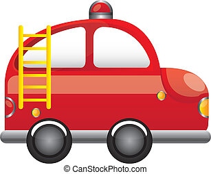 fire truck - red fire truck with ladder cartoon vector...