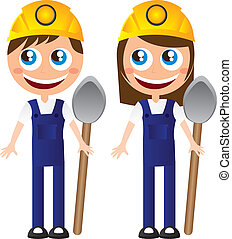 builders - boy and girl builders with shovel and helmet...