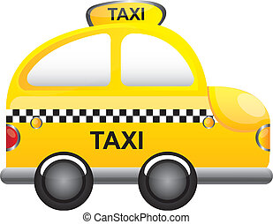 taxi vector - yellow taxi cartoon with tranparency vector...