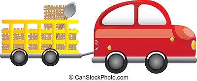 farm truck - red farm truck with straw and shovel cartoon...