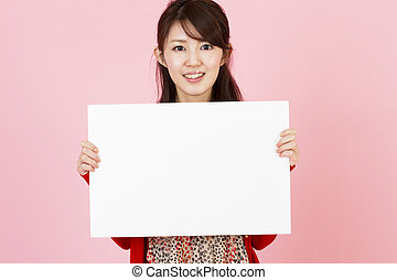 Beautiful young woman with white bo - Portrait of asian...